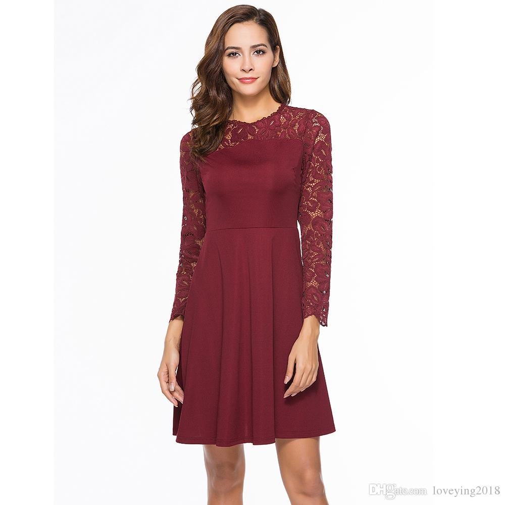 Vintage Long Sleeve Dress Floral Lace Elegant Semi Formal Vestidos Little  Black Swing Party Dresses 2018 Burgundy Robe One Shoulder Dress Party