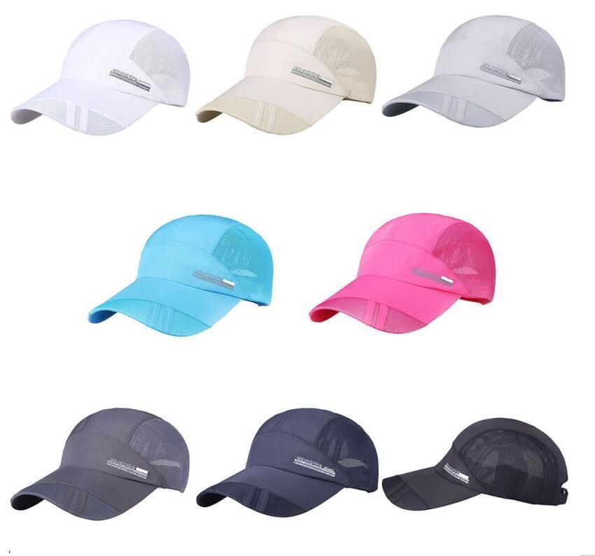 Casquillo caliente Hombres Sombrero de deporte de secado rápido ajustable Casquette Letter Mesh Unisex Caps para correr Senderismo