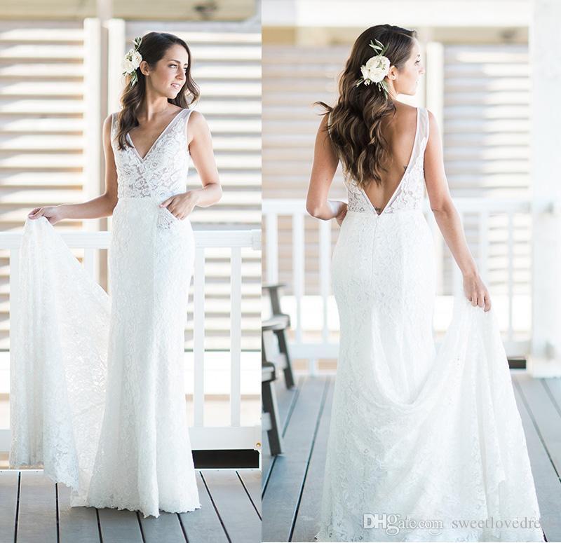 Sexy vestidos de novia de la playa de la sirena de la sirena con el encaje completo vestidos de novia sin espalda vestidos de longitud del piso Envío gratis