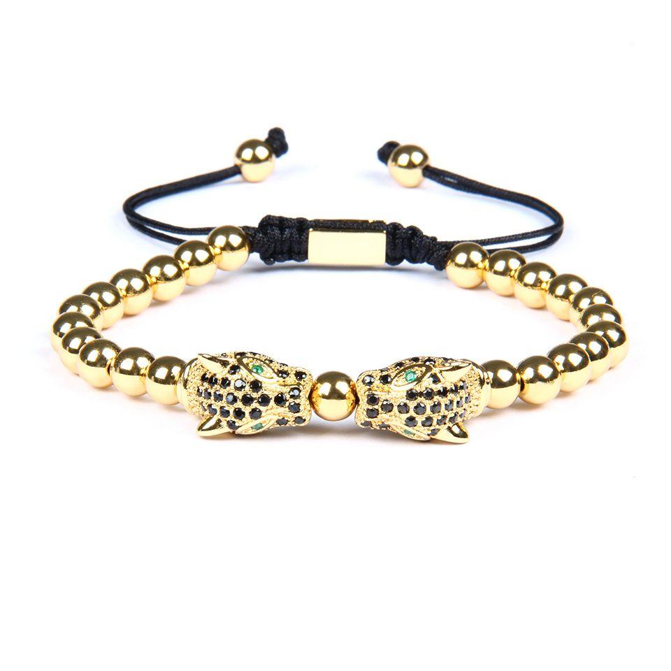 Top Qualité Hommes Panthère Bracelet En Gros 10 Pcs Micro Pave Noir Cz Leopard Macramé Bracelets Avec 6mm En Acier Inoxydable Perles