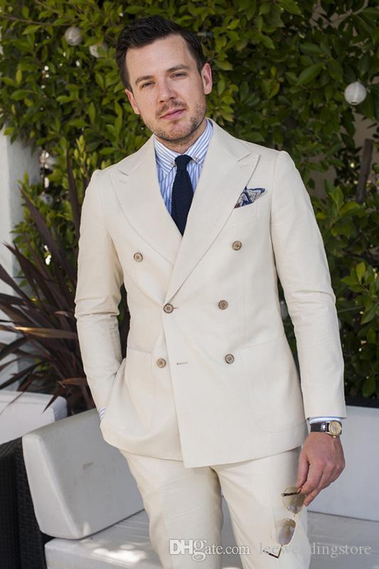 DHL ücretsiz Custom made erkekler Suits Bej Kruvaze düğün Takımları Damat Slim Fit resmi Smokin Groomsmen balo iyi adam (ceket + pantolon)