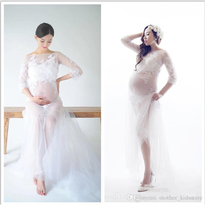 Материнства кружева белое платье беременных фотографии реквизит Фея трейлинг беременность материнства фотосессия макси платья ночная рубашка