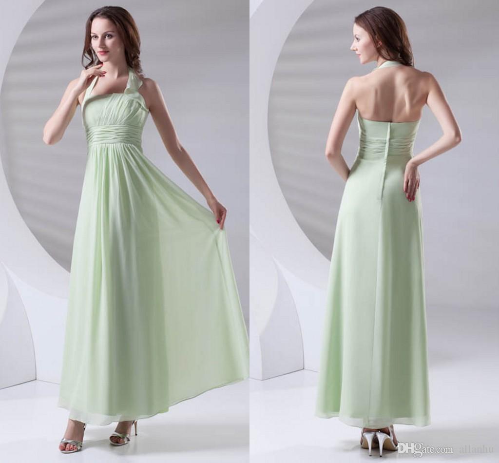 Green Simple Cheap Chiffon Bridesmaid Dress Halter Neck Floor Length Maid of Honor Wedding Guest Dresses Cheap Long ZPT411