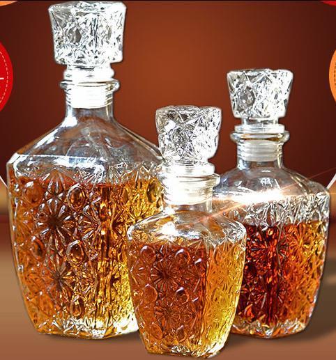 1 ADET Cam Viski Likör Şarap Içecekler Dekantör Kristal Şişe Şarap Sürahi Hediye 250 ML 500 ML