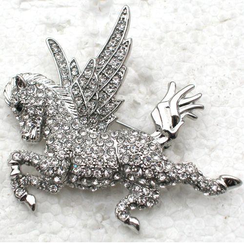 12pcs / lot 도매 크리스탈 라인 석 천사 말 핀 브로치 C563