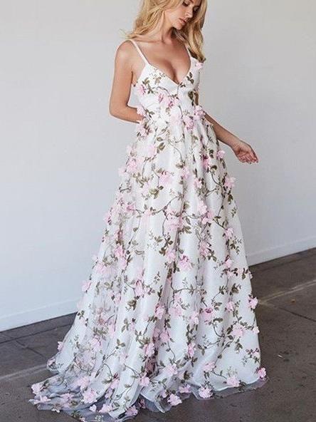 Compre Vestido De Noche Largo Con Estampado Floral Hermoso 2019 Vestidos Largos De Fiesta Correas De Espagueti De Encaje Vestidos Largos Hasta El