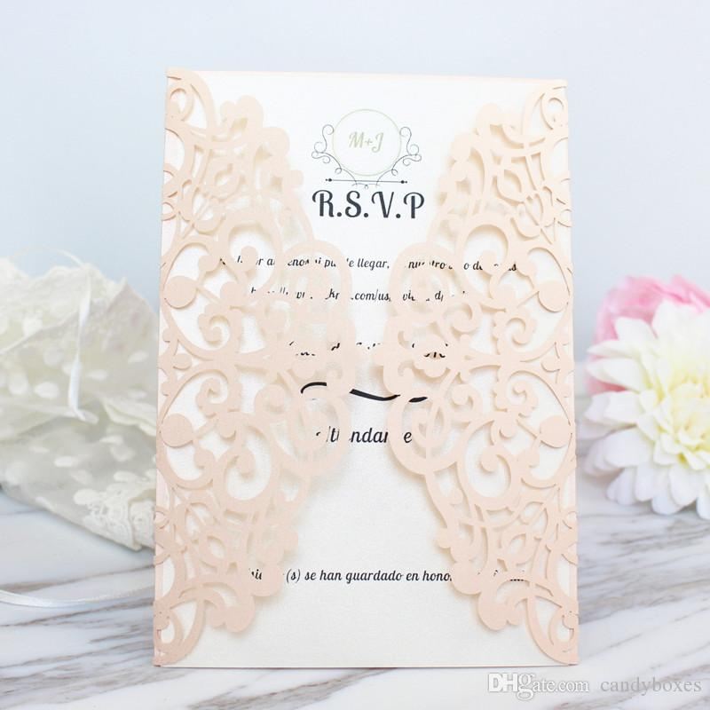 Dirty Pink Invitation Cards Wedding Marriage Engagement With Lace Flowral Leaf Laser Cutting Free Ship Greeting Cards Online Greeting Cards Online