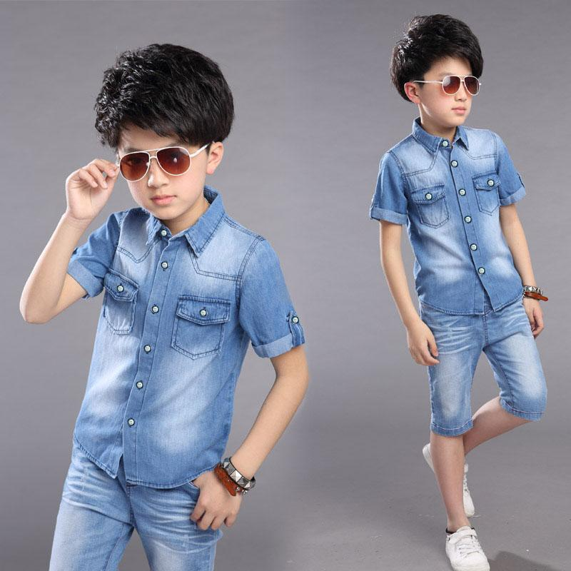 c14eb3ad New 2018 Boys Children Clothes Student Summer Denim T Shirt And Shorts Jeans  Sets For Baby Teens Boys Kids Suits Clothing 5-14 Years