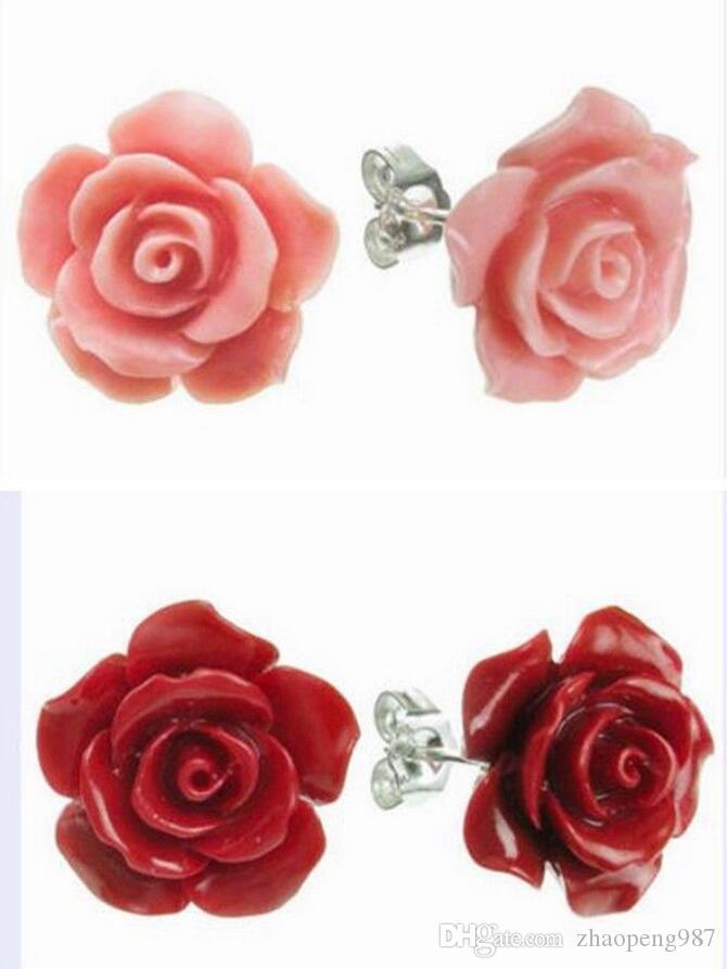 Mimei Boucle dOreille Fleur Rose Rouge Id/ée Cadeau No/ël Anniversaire Mariage Pour Femme Fille Boucle dOreille 18k Plaqu/é Or Cristal