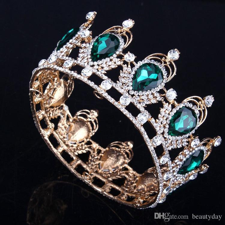 Corona nupcial de lujo Rhinestone cristales Coronas de boda Coronas de cristal Accesorios para el cabello Fiesta Tiaras Barroco elegante Dulce 16 Ronda completa