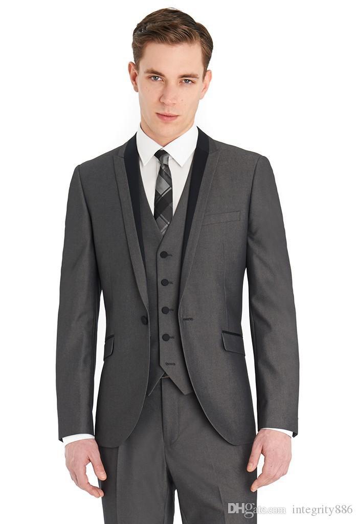 Vente chaude classique gris 3 pièces costume crête venve ventiler hommes hommes MARIAGE TUXEDOS Hommes Business Prom Blazer (veste + pantalon + cravate + gilet) 453