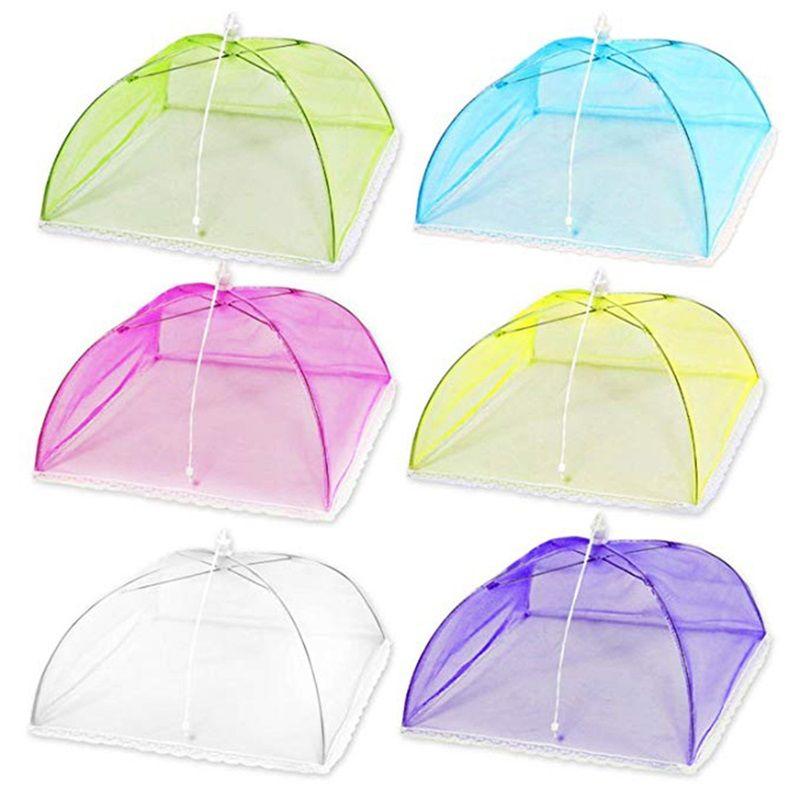 جديد متعدد الألوان المنبثقة شبكة الشاشة الغذاء غطاء خيمة مظلة قابلة للطي في الهواء الطلق نزهة الأطعمة يغطي الشبكات عالية الجودة 2 99hs