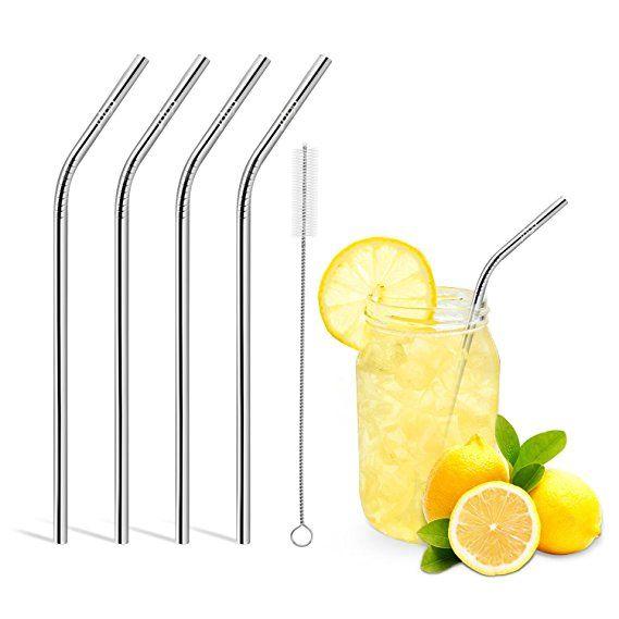 Pailles en acier inoxydable réutilisables droites et pliées outil de boisson réutilisable avec barre de paille à trois dimensions et brosse de nettoyage approuvées par la FDA