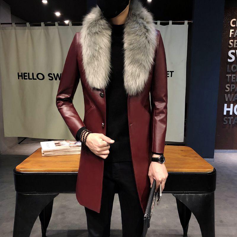 2018 남성 긴 가죽 트렌치 코트 검은 색 긴 코트 남성 부르고뉴 ERKEK Palto 모피 칼라 골드 남성 코트 슬림 맞추기