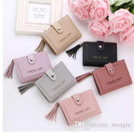 Высокое качество мода короткие магические бумажник простой ретро буквы сплошной цвет портмоне изменение кошелек сумка карманный бренд p#