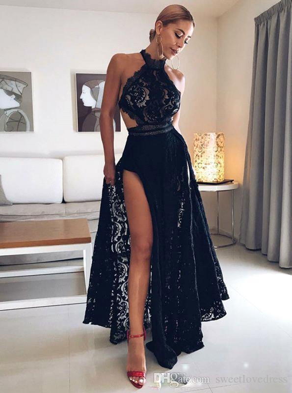 Compre Vestidos De Fiesta Sexy Vestidos Largos De Fiesta De Encaje Con Espalda Sin Espalda Escote Alto Longitud Del Piso Una Línea Vestidos De Fiesta