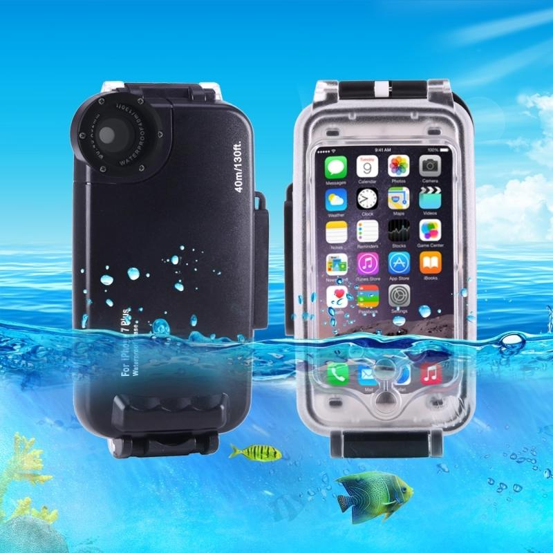 brand new e90e8 da99d For Iphone 7 Plus Case 40m /130ft Underwater Camera Housing Photo Taking  Waterproof Diving Case Cover For Apple Iphone 8 Plus Otter Cell Phone Cases  ...