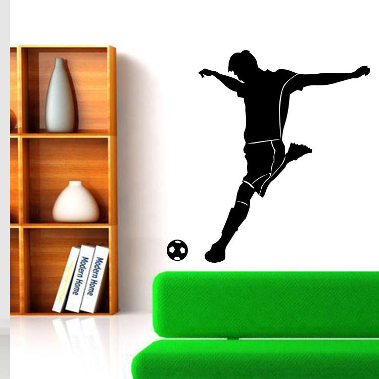 Football Wall Sticker Decal - Decal Stickers and Mural for Kids Room and Bedroom. Sport Wall Home Decor Football Player Silhouette Mural