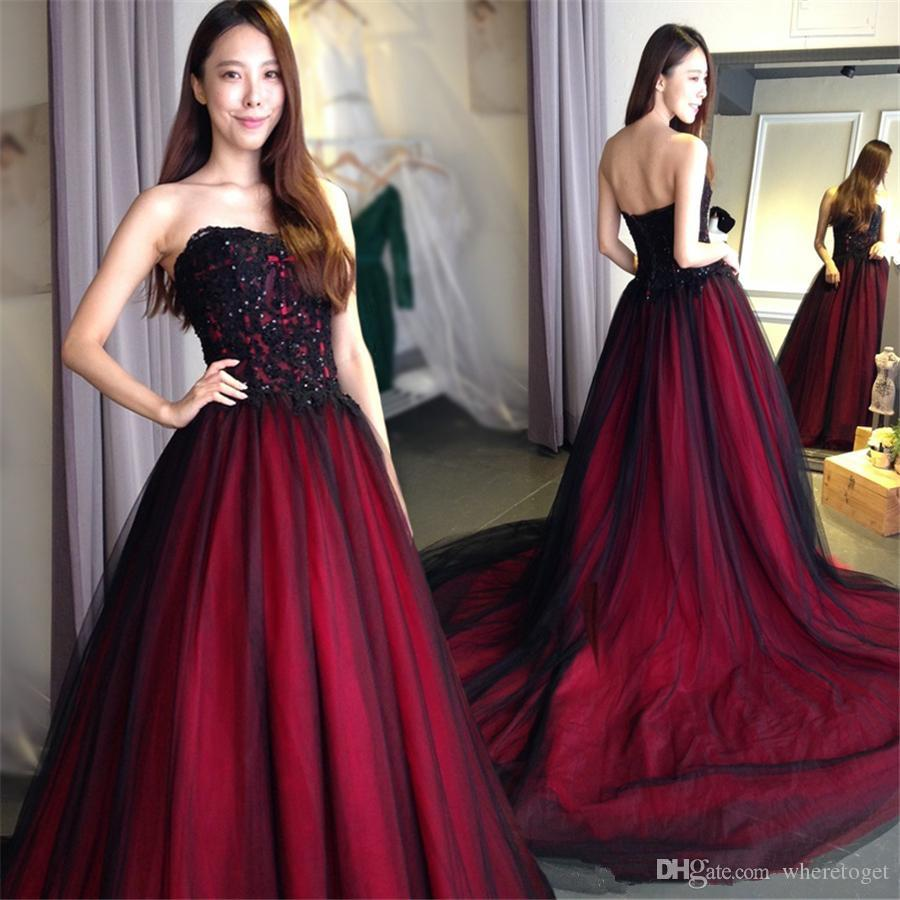 Discount 2019 Gothic Wedding Dresses Plus Size Sweetheart Lace Up Bridal  Gowns Floor Length Long Black Burgundy Custom Made A Line Wedding Dress  With ...