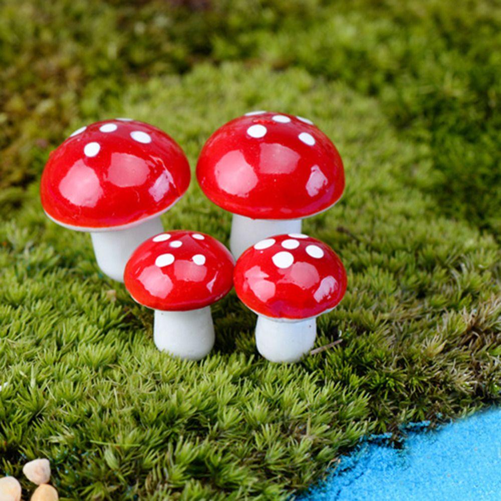 10pcs Red Mushroom Garden Ornament Mini Fairy Plants Pots Miniature DIY Dollhouse Supplies