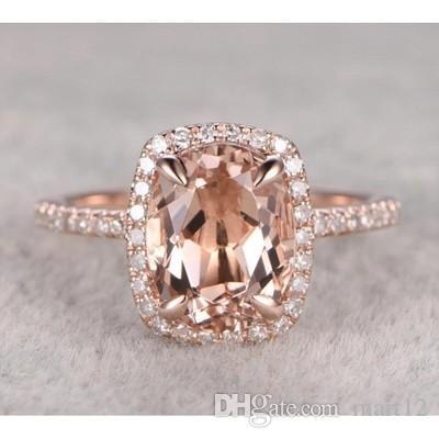 Anillo de piedras preciosas Champagne Ellipse para mujer Chapado en cobre de lujo de oro rosa B2121