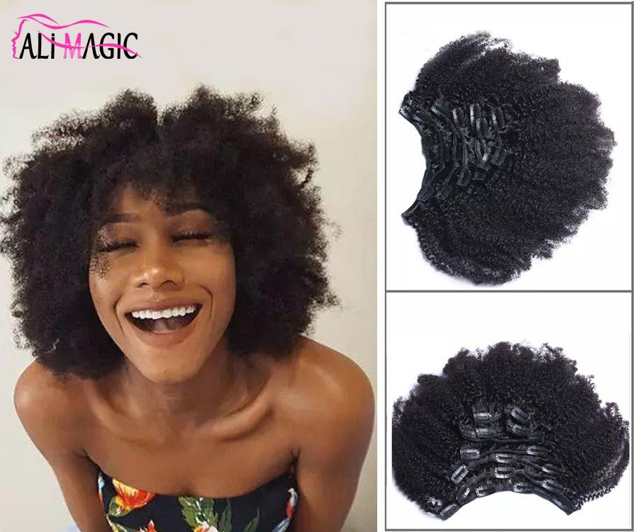 Ali Magic 4B 4C Kinky Clip Curly Hair Extension Honey Queen Nautral Color Clip-in Full Head 7 Pcs Remy Hair 100G 120G