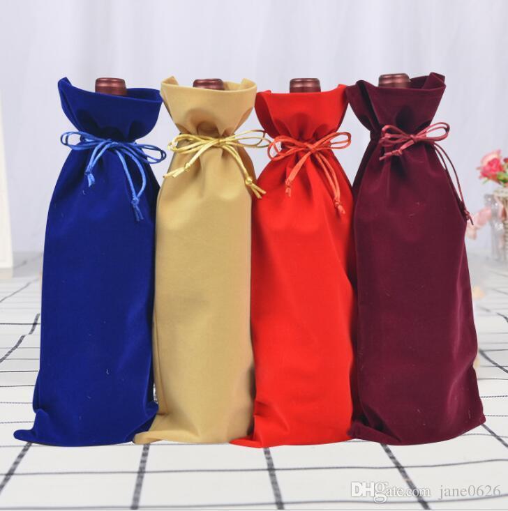 Jute Wine Bottle Bags Drawstring Pouch 15cmx37cm Gift Bag Wedding and Festivals Decoration Favor holder free shipping