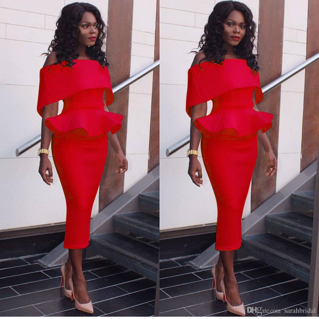 Eleganti 2019 red robes de soirée Off spalla abiti da sera guaina Indietro Zipper da tè lunghezza Custom made abendkleider caftano Vestidos De Noiva