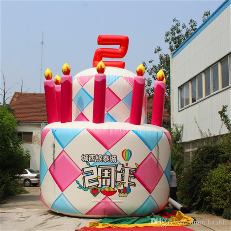 Astounding 2020 5M High Giant Inflatable Birthday Cake With Blower For Birthday Cards Printable Inklcafe Filternl