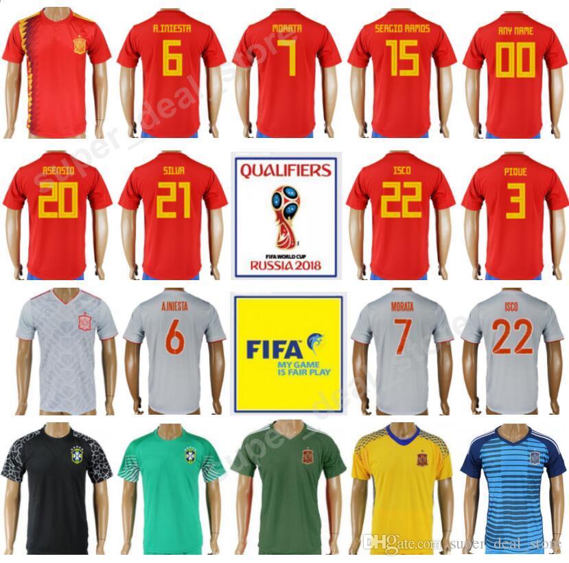 watch 4f463 0f0b9 2019 2018 World Cup Soccer 22 ISCO Spain Jersey Men Thai Custom 15 SERGIO  RAMOS Football Shirt Kits 20 ASENSIO 7 MORATA 21 David Silva Quality From  ...