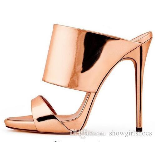 Женщины Гладиатор сандалии взлетно-посадочной полосы сексуальный высокий каблук слайды мулы Peep toe высокое качество обувь женщины Zapatos Mujer большой размер