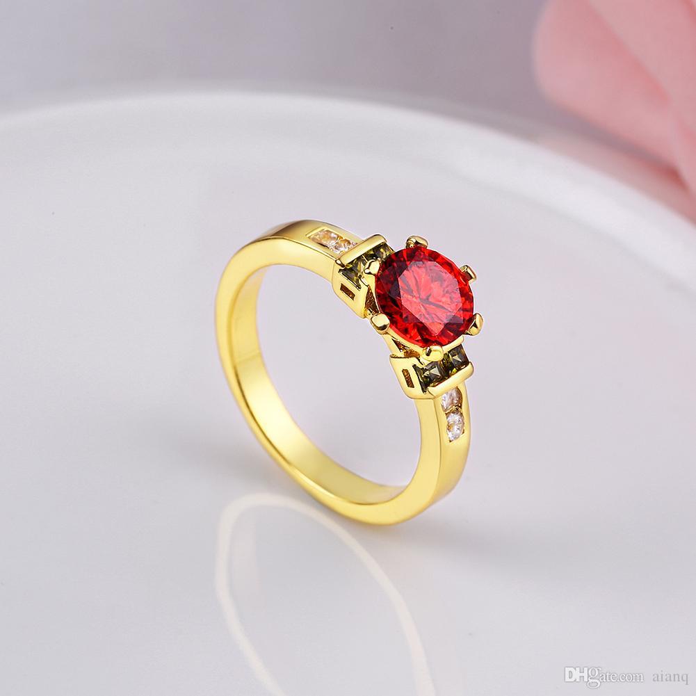 Фирменный дизайн 6-контактный красный драгоценный камень кольцо с желтым золотом / платиновые кольца для женщин имитация бриллианта обручальное кольцо ювелирные изделия