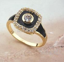 14 K желтое золото заполнены черный квадратный камень мужчины кольцо, Sz9