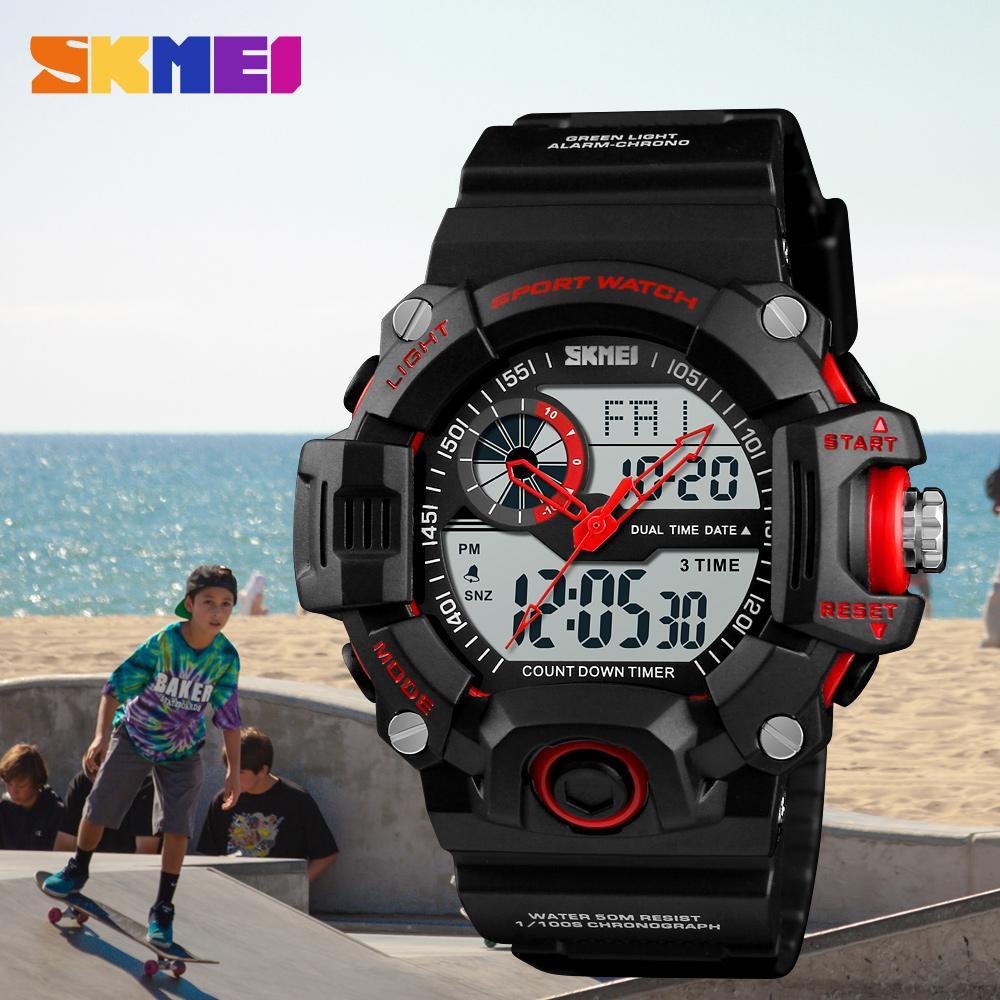 SKMEI Men Fashion 3 Time Chrono Watches Alarm Waterproof 12/24 Hour Count Down Relojes de pulsera EL contraluz Fecha Semana Casual Watch