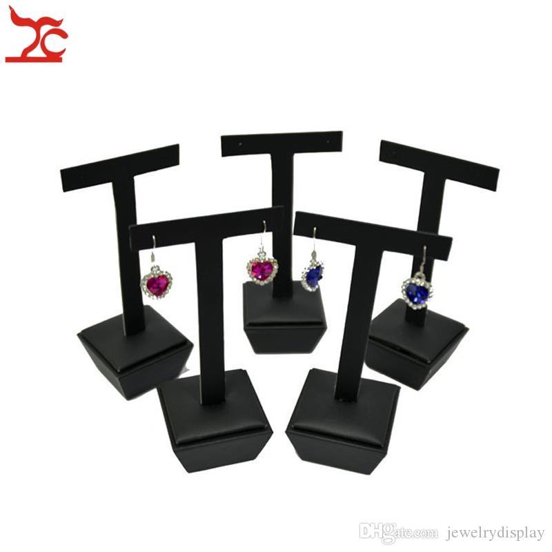 Nova Chegada 5 Pcs Preto PU Series Counter Show Case Moda Brinco Stud Jewelry Display Pendurado Stand Titular T Bar 5 * 5 * 13.5 cm