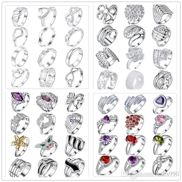 48pcs/lot Mixed Style 925 Sterling Silver Plated Finger Ring With Zircon Fashion Cute Party Gift Jewelry For Women Mixed Size Free Shipping