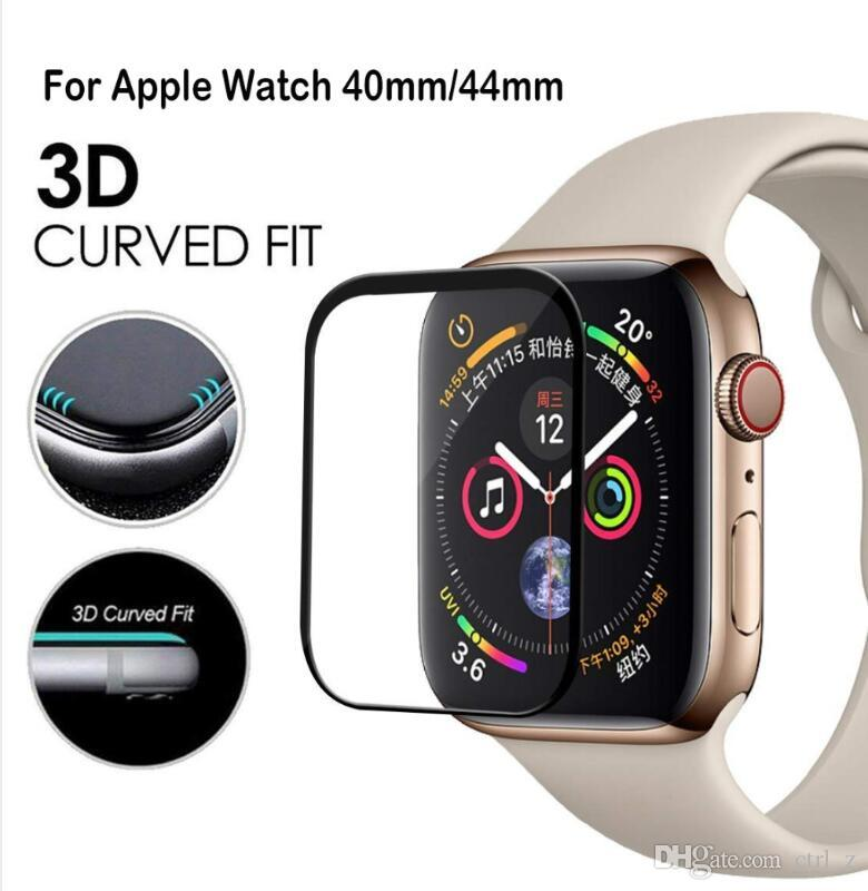 free shipping b39ae 731ff 3D Full Cover Edge Full Glass Film 40mm 44MM Screen Protector For Apple  Watch Series 4 Tempered Glass For Iwatch 38mm 42mm Iwatch Films Iwatch ...