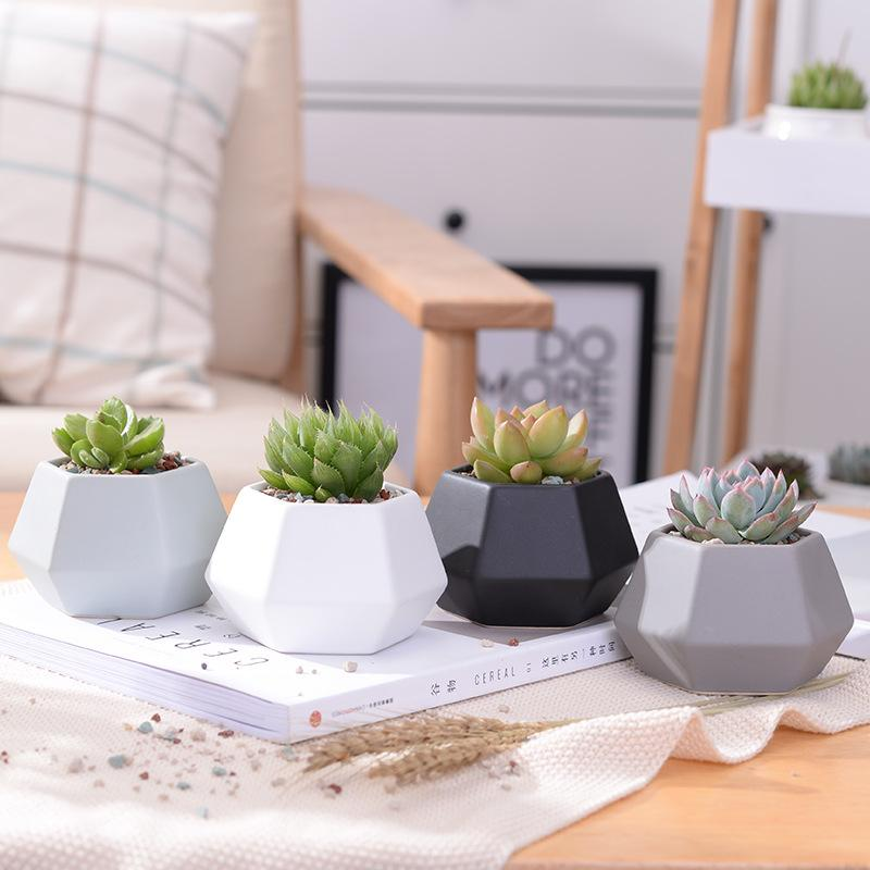 Ceramic Planters Set - 4pcs Matt Porcelain Flowerpot Mini Geometric Succulent Plant Pots Flower Pot Bonsai Planters free shipping