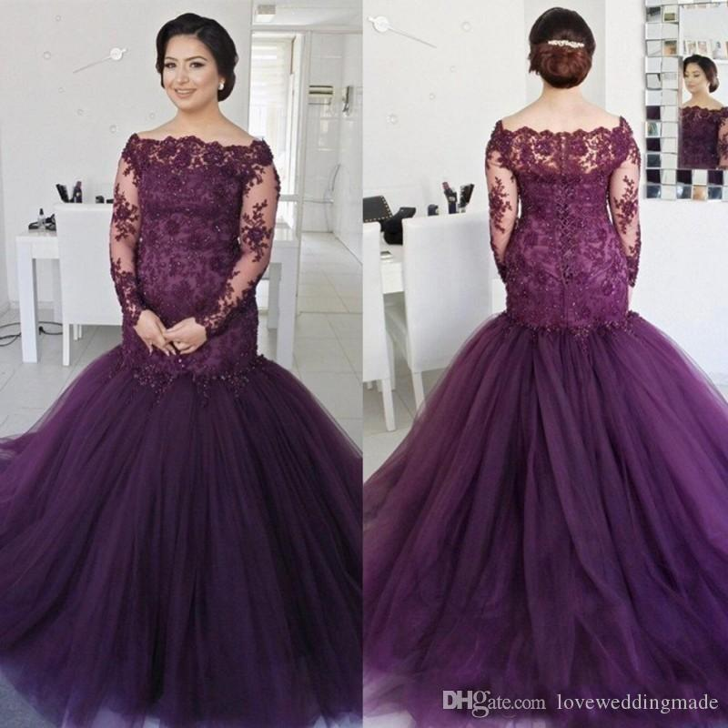 2018 Elegant Lace Applique Long Sleeves Mermaid Prom Dresses Plus Size Bateau Neck Cheap Evening Gowns Beads Women Formal Wear