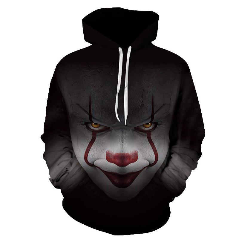 2018 mode nouveau film d'horreur clown à capuche 3d crâne sweatshirt plus sportswear survêtement hommes femmes unisexe pull size s-6xl