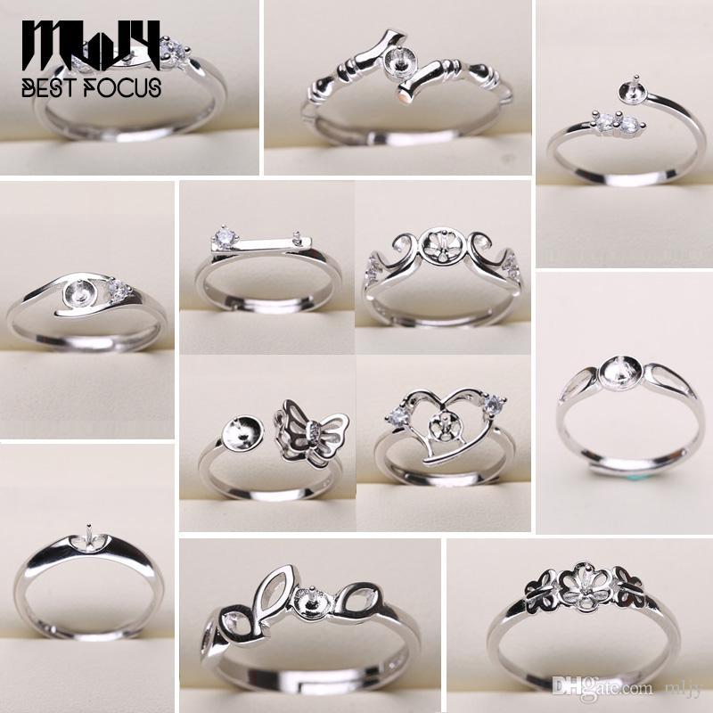 Perle Ring Einstellungen 925 Splitter Ringe für Frauen 20 Arten MIX DIY Ringe Einstellbare Größe Schmuck Einstellungen Weihnachtsgeschenk Aussage Schmuck