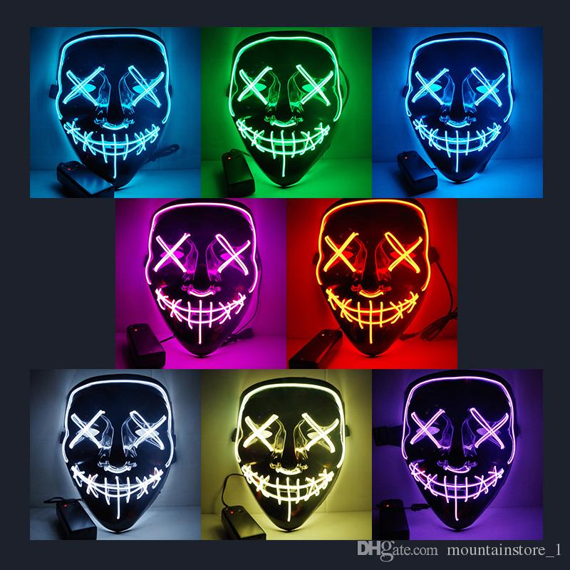 Hot Halloween Mask LED Light Up Party Masks The Purge Election Year Great Funny Masks Festival Cosplay Costume Supplies Glow In Dark