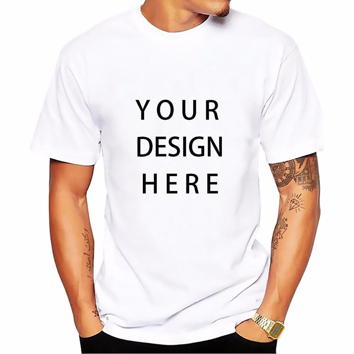 Resim işleme Yüksek Kalite Özelleştirilmiş Erkekler T gömlek Baskı Kendi Tasarım / LOGO / QR kod / fotoğraf casual tshirt