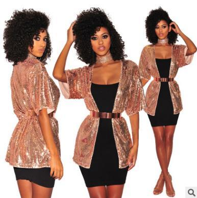 2018 womens coat Sequins costumes Cardigan jacket Fashion party evening dress Stage performance clothing Short Cardigan