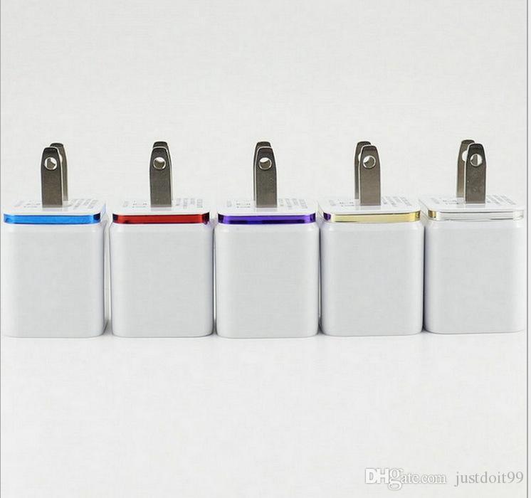 Cargadores USB de alta calidad Metal Dual 5V 2.1A Cargadores de pared Doble USB Adaptador de enchufe para Samsung DUS1