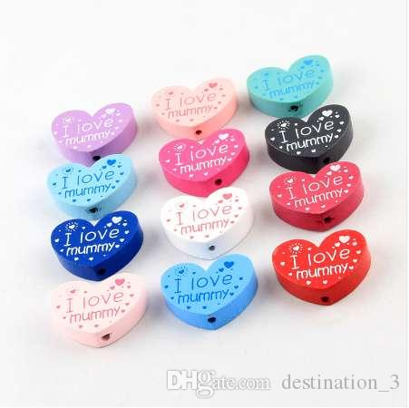 I love mummy pattern Wooden Beads 10pcs Heart Shape Spacer Beads For jewelry Making DIY Wood Pacifier clip Toys 23*30mm