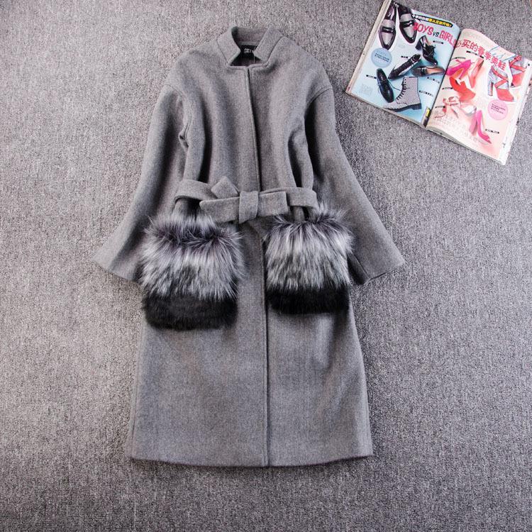 Mon nouveau chez les femmes manteaux d'hiver vestes 2018 automne hiver gris manteau de laine fourrure fourrure longue Parka Warm Outwear printemps casaco feminino S18101102