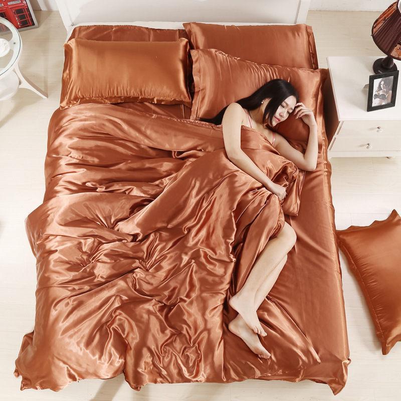 100/% Pure Satin Bedding Sets Comforter Bed Set Pillow Duvet Cover Bed Sheet