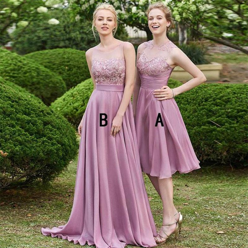 Jewel Neck Lace Appliques Bridesmaid Dresses Sleeveless Ruched Zipper Back Country Style Maid Of Honor Gowns BM0160