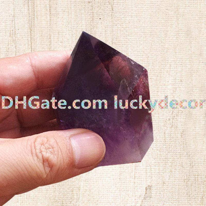 1KG Random Size Freeform Polished Surface Cracked Inside Natural Amethyst Single Point Purple Crystal Quartz Tower Luck Obelisk Wand Chakra